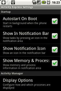 Activity Express Task Manager - менеджер ОЗУ и процессов на OS Android