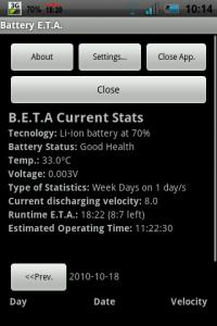 Battery E.T.A. - заряд батареи и количество времени работы смартфона от нее