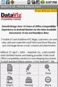 Documents To Go - пакет для редактирования и просмотра Exel, Word, PowerPoint