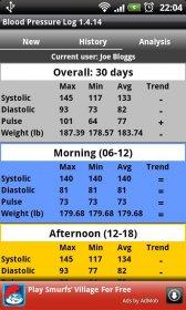 Blood Pressure Log - измерение пульса, систолического и диастолического давления и массы тела