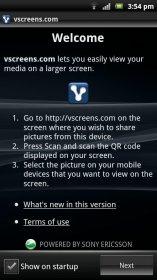 vscreens photo sharing - делимся видео-файлами или изображениями с Android-смартфона на экран другого девайса