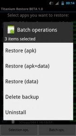 Titanium Restore - восстановление копий созданных с помощью TitaniumBackup