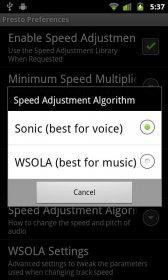 Presto Sound Library - приложение для корректировки скорости воспроизведения звуков
