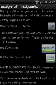 Backlight Off - включение / выключение подсветки клавиатуры