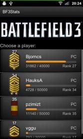 Battlefield BF3 Stats - отображение подробной статистики Battlefield 3