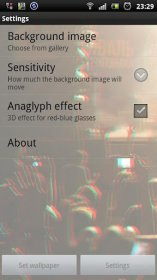 3D Layer Live Wallpaper - изменение положения фона во время наклона смартфона