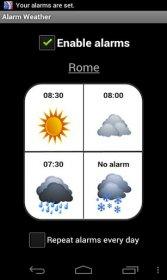 Alarm Weather - время звонка будильника зависит от прогноза погоды