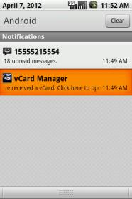 vCard Manager - организатор отправленных и полученных визиток через sms
